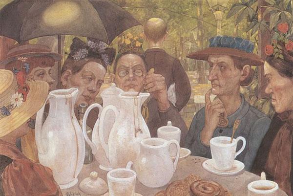 Hier können Familien Kaffee kochen von Hans Baluschek 1895