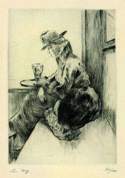 Lesser Ury: Dame im Kaffee
