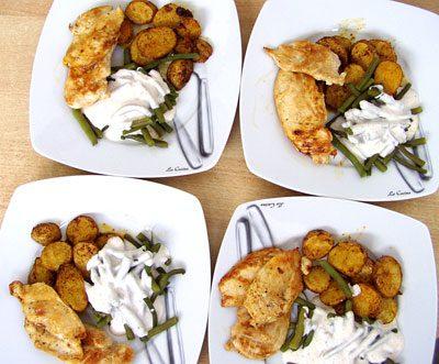 Joghurt-Bohnen und Harissa-Kartoffeln