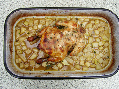 Hähnchen mit Kohlrabi in Apfelwein