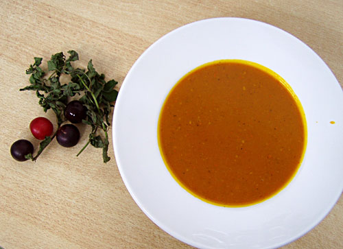 Kürbissuppe mit Minze und Vanille