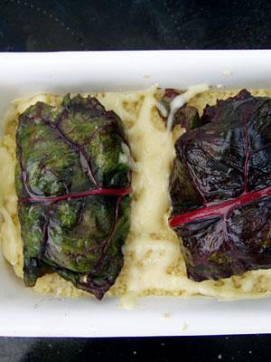 Mangold-Auberginen-Päckchen