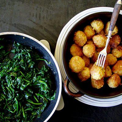 Reisbällchen mit Spinat