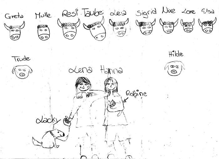 die Mädchen und die Rötalm-Tiere